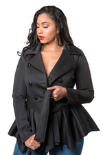 TRACY ELLIS PEPLUM JACKET - BLACK
