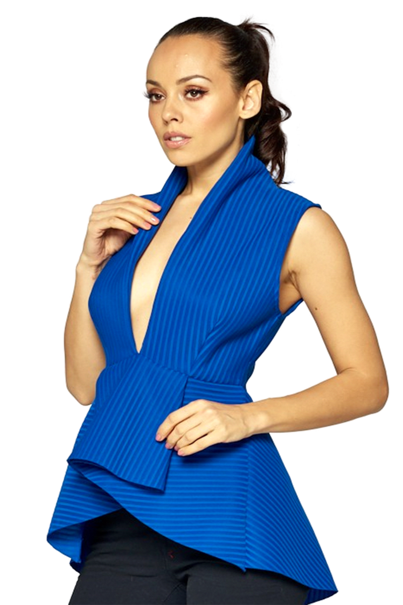 SIRENA PLUNGE PEPLUM TOP - ROYAL BLUE