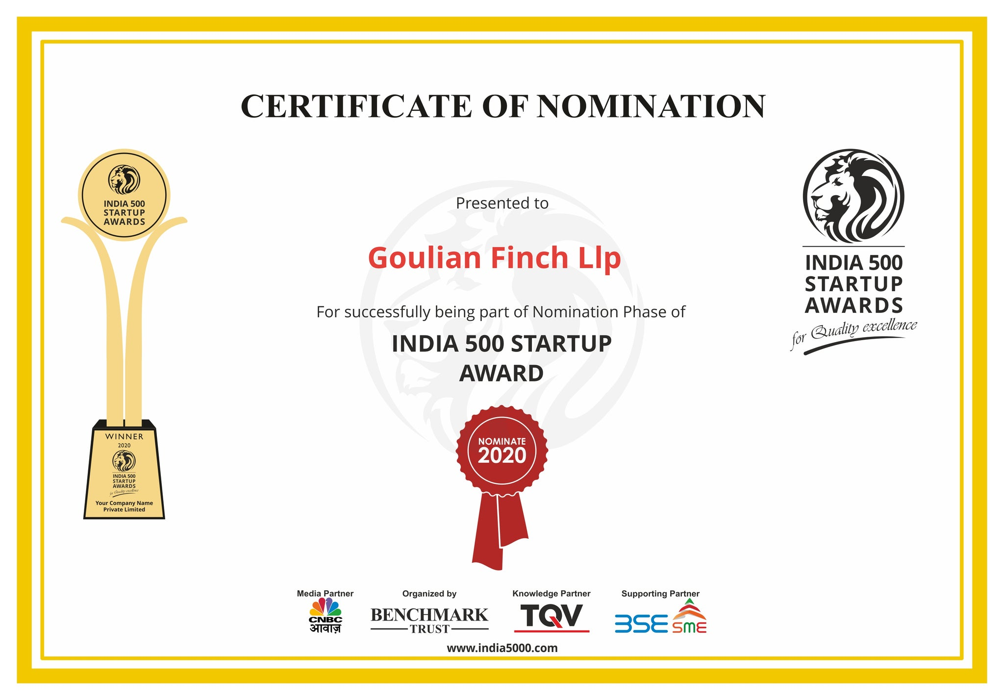 Goulian Finch has been nominated for India 500 Startup Awards