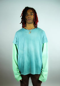 Organic Two Toned Long-Sleeve Green