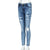 Women Skinny Hole Coated Jeans