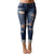 Women Hole Denim Stretch Jeans