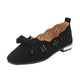 Women Bow Hollow Out Green Solid Shoes