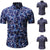 Men's Casual Fashion Printing Shirt Blue Gold
