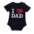Baby Bodysuit Summer Short Sleeve O-Neck I Love DAD Print
