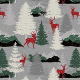 Christmas Flannel Fabric In Grey Deer - Christina's Fabrics Online Superstore