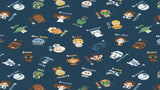 Flannel Fabric In Blue Star Wars Alphabet Toss - Han Solo, Leia, C3PO, R2D2, BB8 - Camelot - Christina's Fabrics Online Superstore