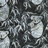 Batik Fabric Koala and Baby Dark Grey and Grey By Shania Sunga - Christina's Fabrics Online Superstore