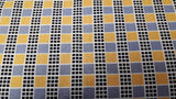 Cotton Fabric In Yellow/Black/Grey Checkered Print - Christina's Fabrics Online Superstore