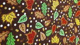 Cotton Fabric In Brown, Autumn Leaves - Christina's Fabrics - Online Superstore