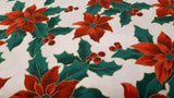 Cotton Fabric In White Christmas Holly - Christina's Fabrics Online Superstore