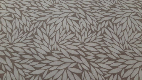 Cotton Fabric In Mandorla In Grey With White Leaves - Christina's Fabrics