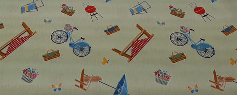 Cotton Fabric in Lime Green Camping Bicycles, Picnic Tables - Christina's Fabrics Online Superstore