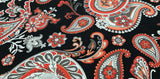 Cotton Fabric In Black With Red Floral Print -  Christina's Fabrics Online Superstore