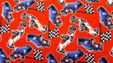 Flannel Fabric In Red Race Cars - Children's - Christina's Fabrics Online Superstore