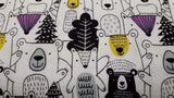 Flannel Fabric In White - Animated Wildlife - Children's - Christina's Fabrics Online Superstore