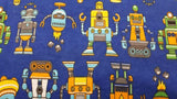 Flannel Fabric In Blue Robots - Children's - Christina's Fabrics Online Superstore
