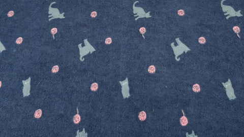 Flannelette Fabric In Blue With Cats And Kittens Print - Christina's Fabrics Online Superstore