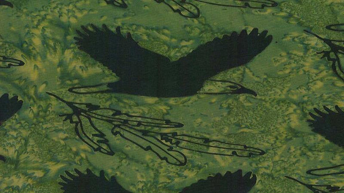 Batik Fabric Spirit Eagle In Green, Black by Shania Sunga - Christina's Fabrics Online Superstore