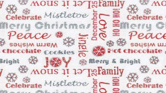 Christmas Flannel Fabric In White Red Writing - Christina's Fabrics Online Superstore