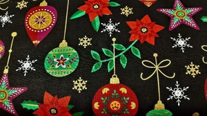 Cotton Christmas Fabric In Colorful Decorations - Christina's Fabrics Online Superstore