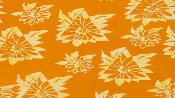 Cotton Batik In Orange/Yellow Floral Cotton Batiks Christina's Fabrics - Online Superstore