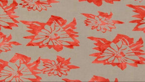 Batik Fabric In Grey & Orange Floral - Daisy Chain - Christina's Fabrics Online Superstore