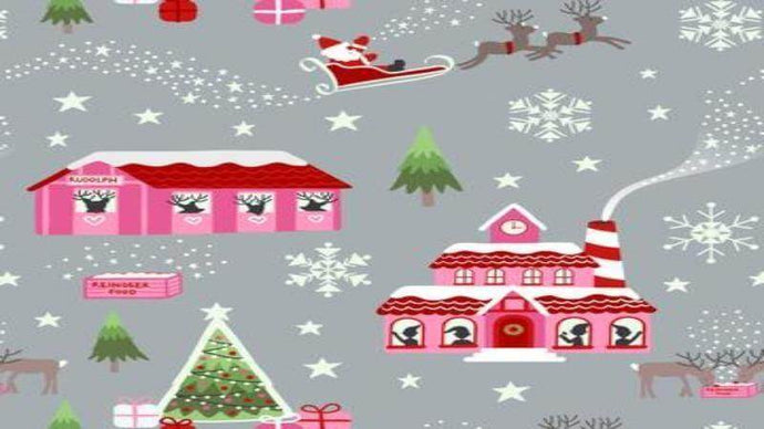Cotton Christmas Fabric In Grey - It Glows In The Dark! Cotton Christina's Fabrics - Online Superstore