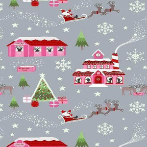 Cotton Christmas Fabric In Grey - Glows In The Dark!  Christina's Fabrics Online Superstore