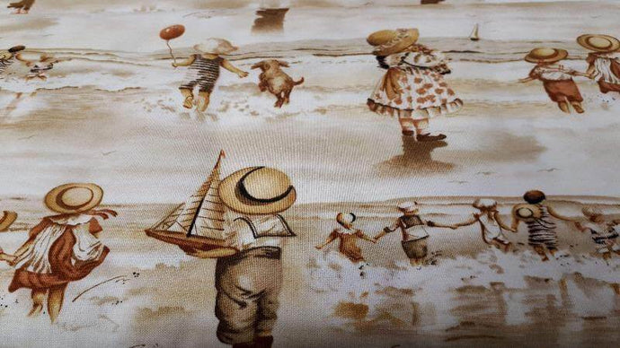 Cotton Fabric Friends Playing By The Shore - Christina's Fabrics Online Superstore