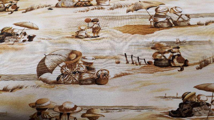 Cotton Fabric In  Beige/Brown Friends Scene - Christina's Fabrics Online Superstore