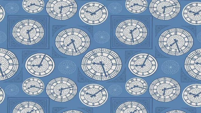 Cotton Fabric In Blue Clocks Of London Cotton Christina's Fabrics - Online Superstore