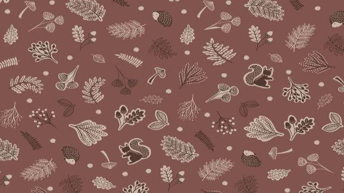 Cotton Fabric In Brown Scattered Woodland - Christina's Fabrics - Online Superstore