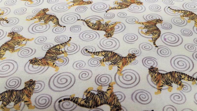 Cotton Fabric In Cream With Tigers  -  Christina's Fabrics Online Superstore