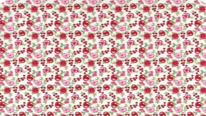 Cotton Fabric In Cream Metallic Fruit Blooms Cotton Christina's Fabrics - Online Superstore