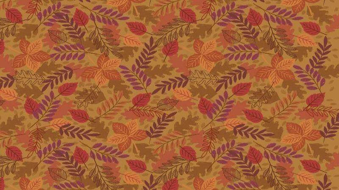 Cotton Fabric In Dark Acorn Autumn Leaves Cotton Christina's Fabrics - Online Superstore