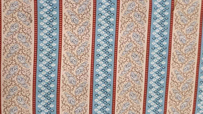Cotton Fabric in Floral Beige And Teal Stripes Cotton Prints Christina's Fabrics - Online Superstore