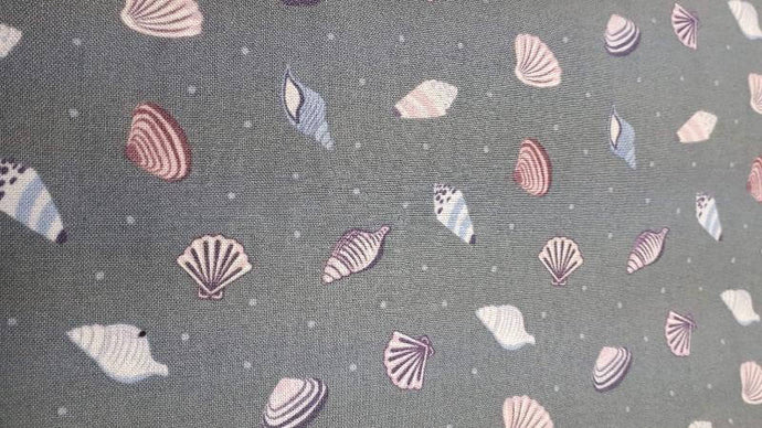 Cotton Fabric In Grey Sea Shells Cotton Christina's Fabrics - Online Superstore