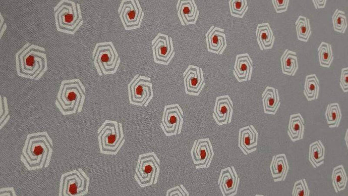 Cotton Fabric In Grey With Red Dot Pattern Cotton Christina's Fabrics - Online Superstore