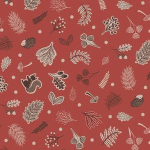 Cotton Fabric In Nut Brown - Under The Oak Tree Cotton Christina's Fabrics - Online Superstore