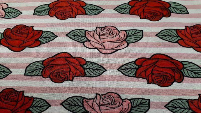 Cotton Fabric In Pink & Red Roses Cotton Prints Christina's Fabrics - Online Superstore