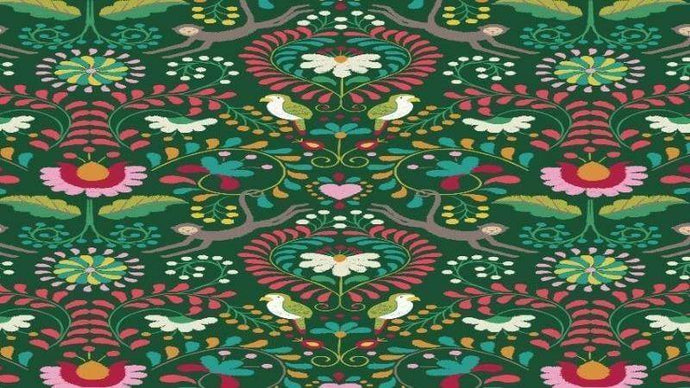 Cotton Fabric In Green - In The Forest Wildlife Hidden In The Trees  - Christina's Fabrics Online Superstore