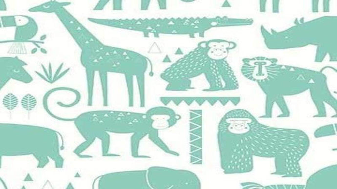 Cotton Fabric in White - Animals Cotton Christina's Fabrics - Online Superstore