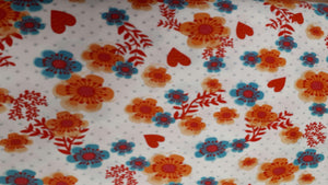 Cotton Fabric In White Flowers And Hearts (3 left) Cotton Prints Christina's Fabrics - Online Superstore