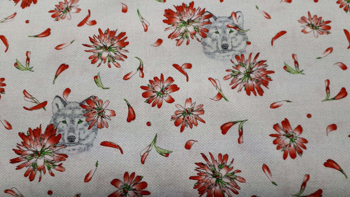 Cotton Fabric in White With Red Wolves Cotton Prints Christina's Fabrics - Online Superstore
