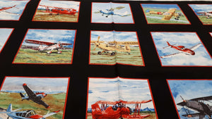 Cotton Fabric Vintage Airplanes - Panel Cotton Prints Christina's Fabrics - Online Superstore