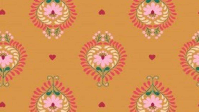 Cotton In Orange Heart Floral Cotton Christina's Fabrics - Online Superstore