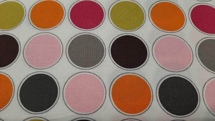 Cotton Fabric In White - Big Colorful Dots - Christina's Fabrics Online Superstore