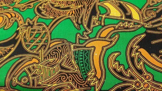 Cotton Fabric In Green Indonesian Print - Christina's Fabrics Online Superstore