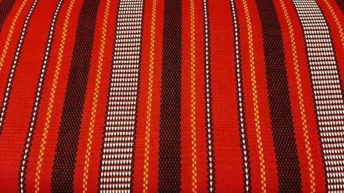 Cotton Fabric In Reddish-Orange Indonesian Print - Christina's Fabrics